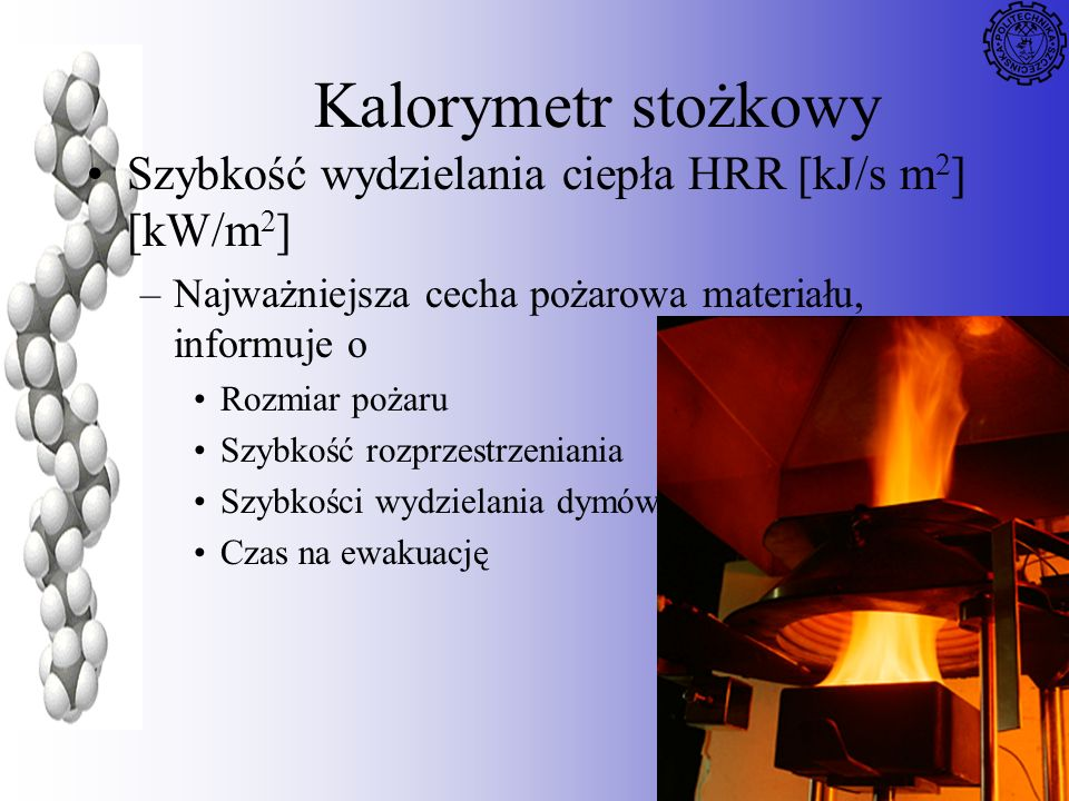 Kalorymetr stożkowy Szybkość wydzielania ciepła HRR [kJ/s m2] [kW/m2]